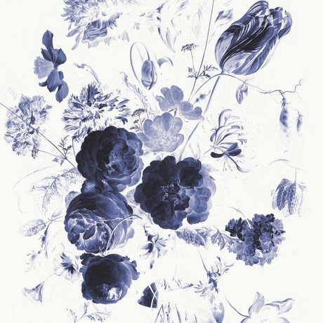 KEK Amsterdam Fond d'écran bleu royal Fleurs I papier multicolore web 194,8x280cm