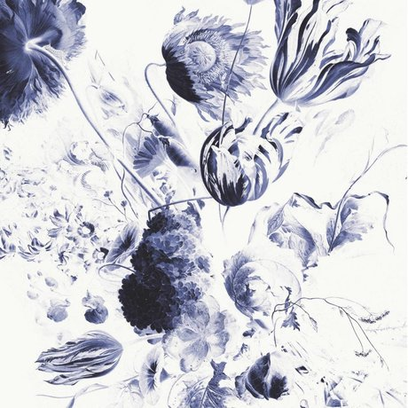 KEK Amsterdam Tapete Königsblau Blumen II mehrfarbiges Vliespapier 194,8x280cm