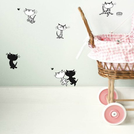 KEK Amsterdam Wall Sticker Fiep Westendorp Pim Pom & mini-set black and white 20x32cm