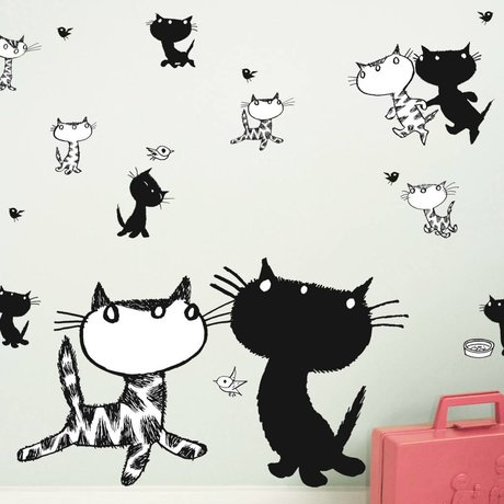 KEK Amsterdam Wall Sticker Fiep Westendorp Pim & Pom set black and white 42x59cm