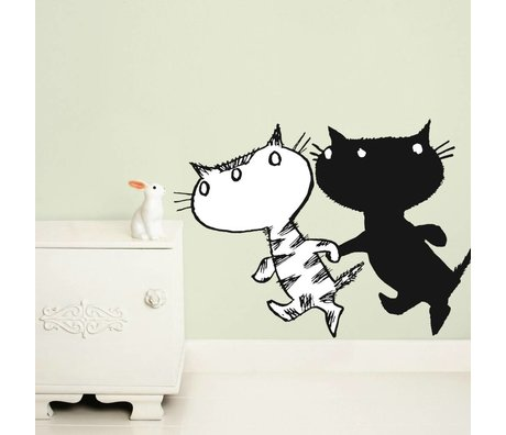 KEK Amsterdam Wall Sticker Fiep Westendorp Pim & Pom XL set black and white 97x70cm