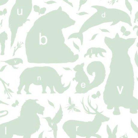 KEK Amsterdam Papier peint Alphabet animaux vert / blanc 146,1 x 280cm 4m²