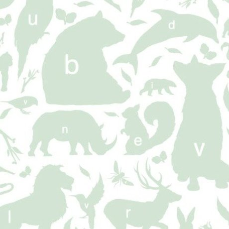 KEK Amsterdam Wallpaper green / white Alphabet Animals 146.1 x 280cm 4m²