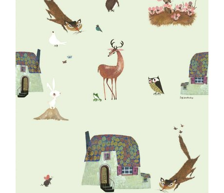 KEK Amsterdam Wallpaper Fiep Westendorp Forest Animals green 146.1x280cm