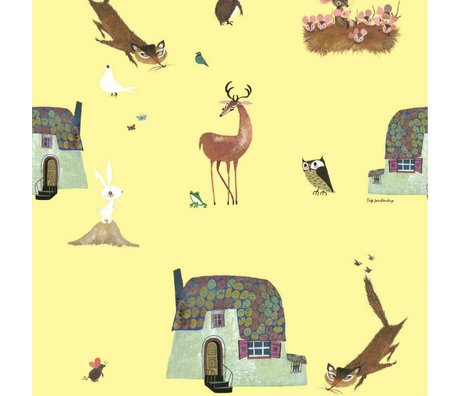 KEK Amsterdam Wallpaper Fiep Westendorp Forest Animals yellow 146.1x280cm