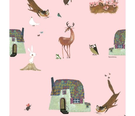 KEK Amsterdam Wallpaper Fiep Westendorp Forest Animals pink 146.1x280cm