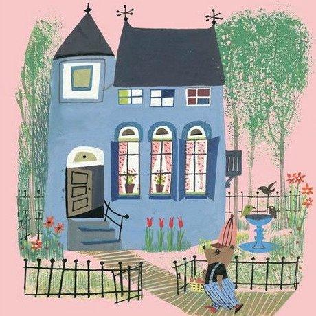 KEK Amsterdam Tapete Bär mit Blauem Haus rosa Buntvlies 243.5x280cm