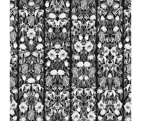 NLXL-Studio Job Papier peint 'Fleurs fanées noir 06' papier noir / blanc 900x48,7cm