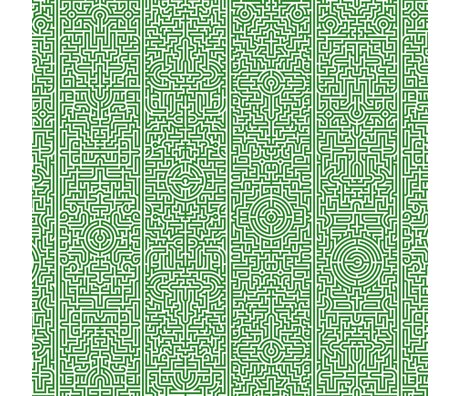 "NLXL-Studio Job Wallpaper 'Labyrinth 02 ""paper 900x48.7cm green / white"