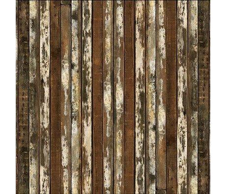 NLXL-Piet Hein Eek Behang 'Sloophout 13' papier bruin/wit 900 x 48,7 cm