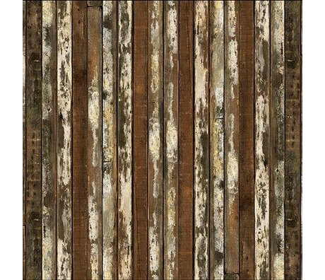 NLXL-Piet Hein Eek Wallpaper 'Scrapwood 13' paper brown / white 900 x 48.7 cm