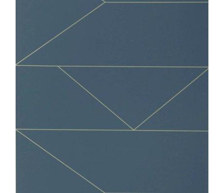 Ferm Living Papier peint Lines bleu foncé 10x0,53m
