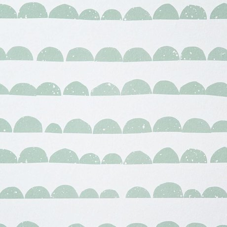 Ferm Living Half Moon Wallpaper mint green / white paper 10.05mtrx53cm