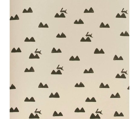 Ferm Living Rabbit pink wallpaper black 10x0,53m