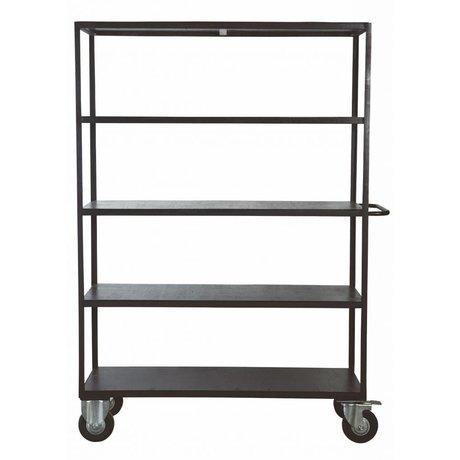 Housedoctor Storage unit on wheels black metal / wood 130x40x175 cm