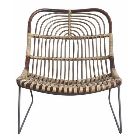 Housedoctor Chaise longue 'Kawa' en métal / rotin noir / marron 73x62x65 cm