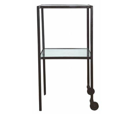 Housedoctor Trolley Square métal / verre noir 40x40x80cm