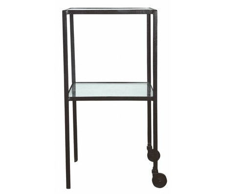 Housedoctor Trolley Square Metall / Glas schwarz 40x40x80cm
