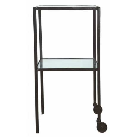 Housedoctor Trolley square metal / glass black 40x40x80cm