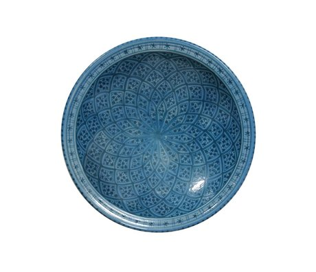 HK-living Large souk bowl B blue earthenware 33x33x8cm