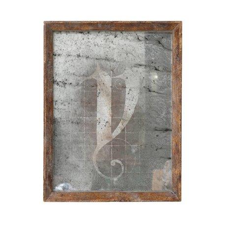 HK-living Spiegel braunem Holz 25x32,5x3,5cm