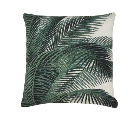 HK-living Cushion palm leaf green white cotton 45x45cm