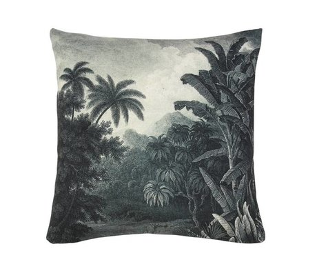 HK-living Ornamental cushion jungle dark green white cotton 45x45cm