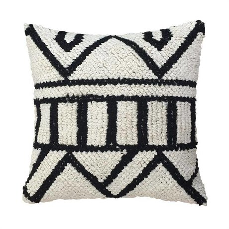 HK-living Cushion handcrafted black and white cotton 50x50cm