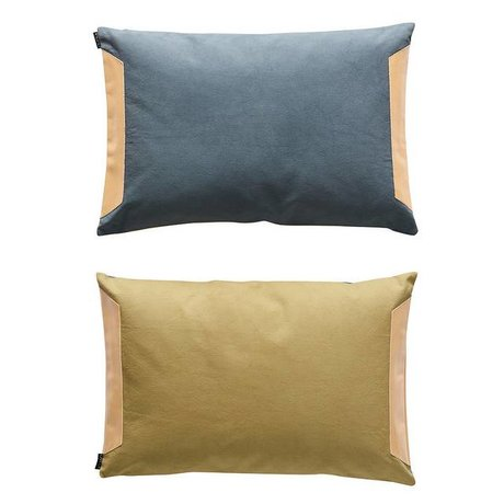 OYOY Cushion sided blue olive green cotton 40x60cm