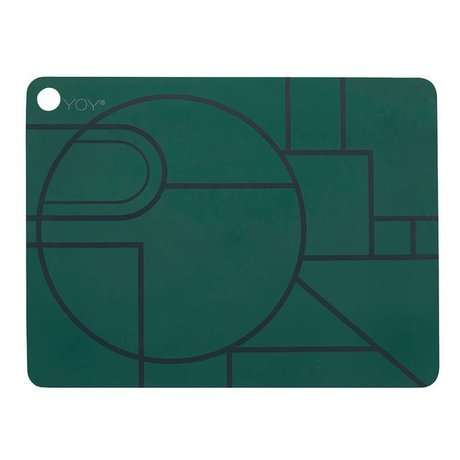 OYOY Ponyo placemat set of two dark green black silicone 45x34x0,15cm