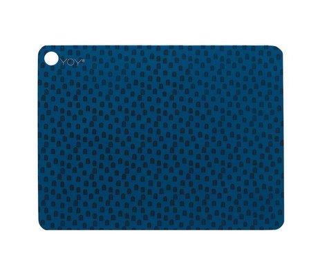OYOY Placemat muni set van twee blauw zwart silicone 45x34x0,15cm