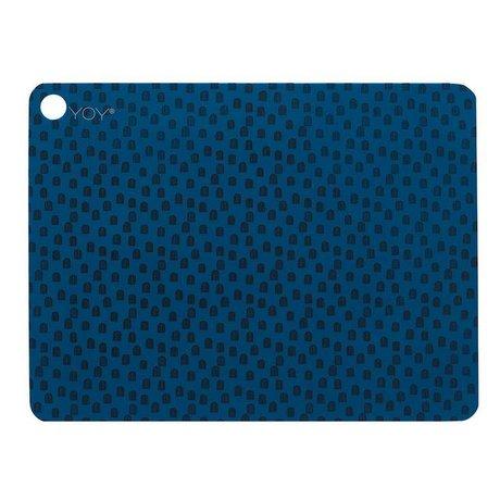 OYOY Platzdeckchen muni Satz von zwei blau schwarz Silikon 45x34x0,15cm