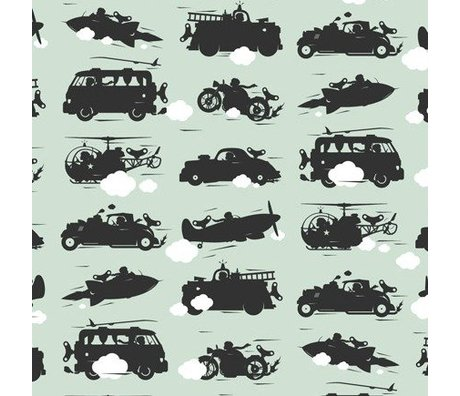 KEK Amsterdam Wallpaper green Toys for Boys 2 lanes of 48.7 x 280 cm