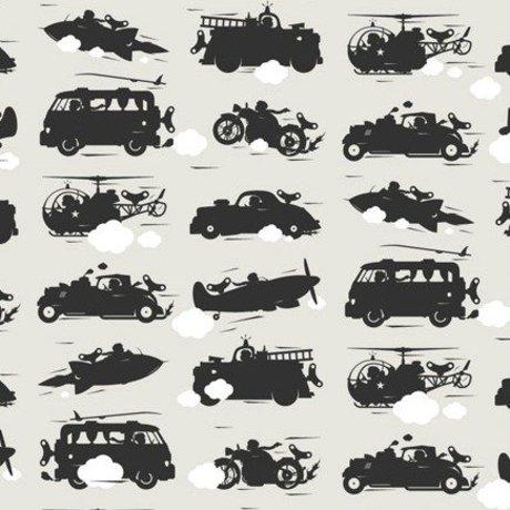 KEK Amsterdam Wallpaper gray Toys for Boys 146.1 x 280cm