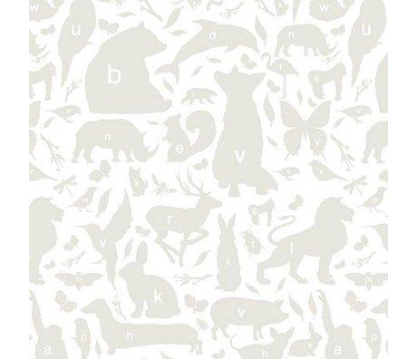 KEK Amsterdam Papier peint Alphabet animaux gris / blanc 146,1 x 280 cm 4m²