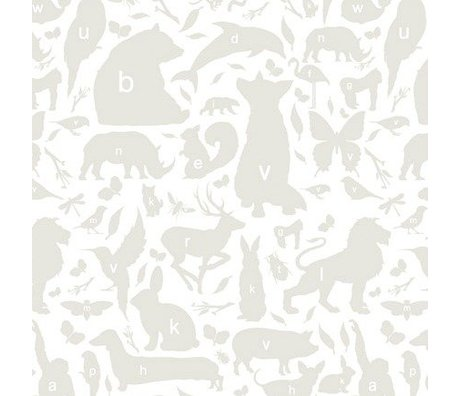 KEK Amsterdam Wallpaper gray / white Alphabet Beasties 146.1 x 280 cm 4m²