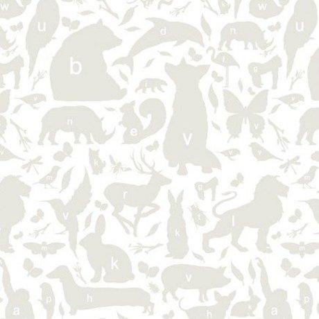 KEK Amsterdam Behang grijs/wit Alfabet Beestjes 146,1 x 280 cm 4m²