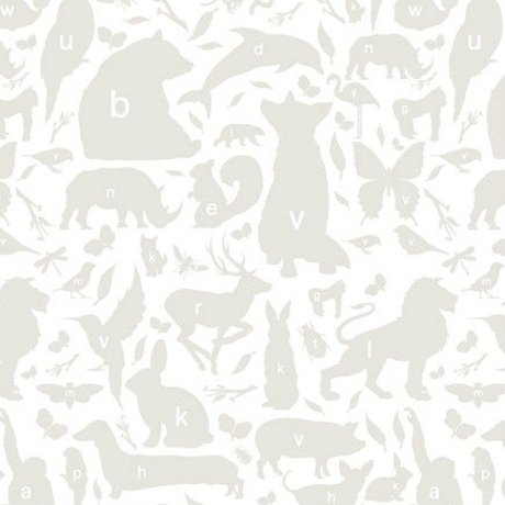 KEK Amsterdam Wallpaper gray / white Alphabet Animals 146.1 x 280 cm 4m²