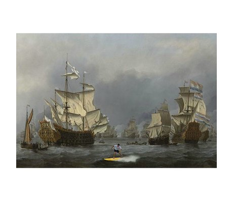 Arty Shock Painting Willem van de Velde Battleship M multicolor plexiglass 80x120cm