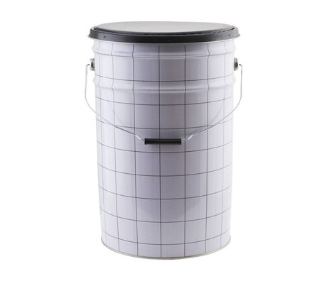 Housedoctor Opbergerkist the bucket wit zwart Ø30x46cm