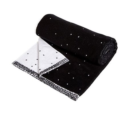 OYOY Towel Dotty large black and white cotton 70x140cm