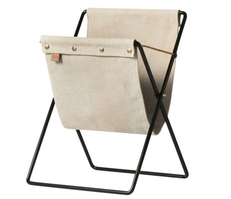 Ferm Living Magazine holder Magazine brown canvas black metal 51x33x31cm