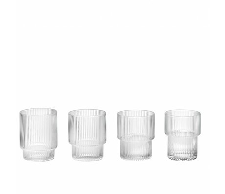 Ferm Living verre Ripple verre transparent ø8,8x7cm ensemble de 4