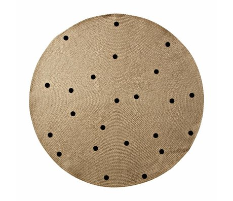 Ferm Living Rug Dots around natural black ø100cm