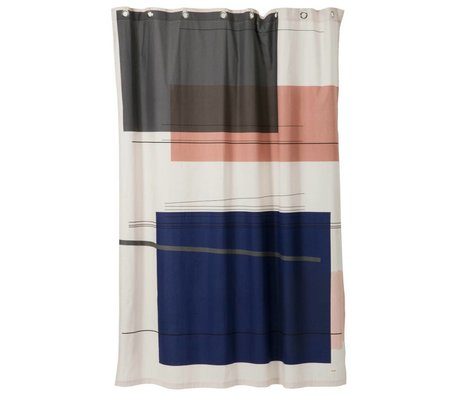 Ferm Living Douchegordijn Colour block multicolour textiel 160x205cm
