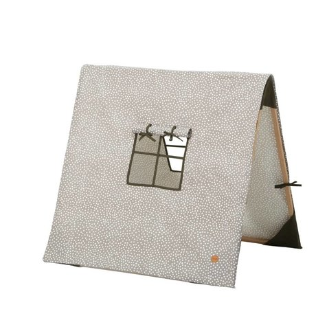 Ferm Living Dots collapsible tent gray cotton / wood 100x100xcm
