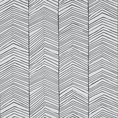 Ferm Living Behang Herringbone zwart-wit papier 53x1000cm