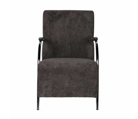 LEF collections Halifax armchair anthracite gray in ribbed textile 90x56x85cm