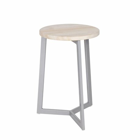 LEF collections Stool Isa gray metal timber 46,5x30,5cm