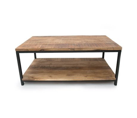LEF collections Industrial brown metal black wood coffee table 110x60x46cm